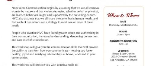 Upcoming Event: Thursday, September 3rd, 2015 | Nonviolent Communication Workshop